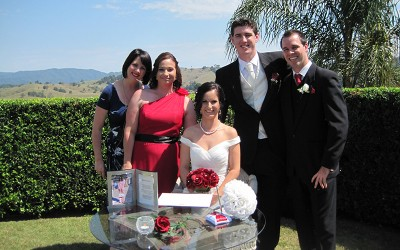 After the ceremony – Celebrant Renee with the bridal party