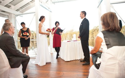 Renee Wilkins conducting a wedding ceremony