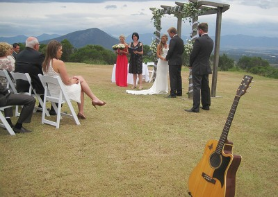 Renee Wilkins conducting a wedding ceremony
