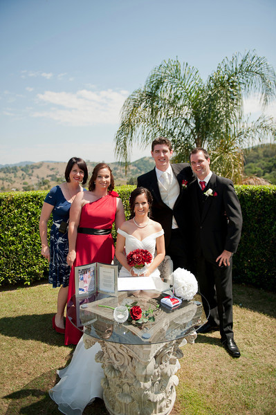 Celebrant Renee Wilkins with the happy couple after the ceremony.