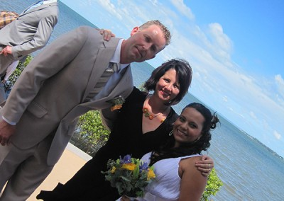 Renee Wilkins with the bride and groom after the ceremony